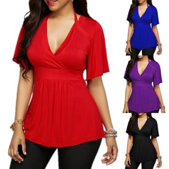 New Sexy Summer Women Plus Size Solid Color V-neck Halter Short Sleeve T-Shirt Top футболка женская sexy style jewel neck solid color voile splicing half sleeve t shirt for women