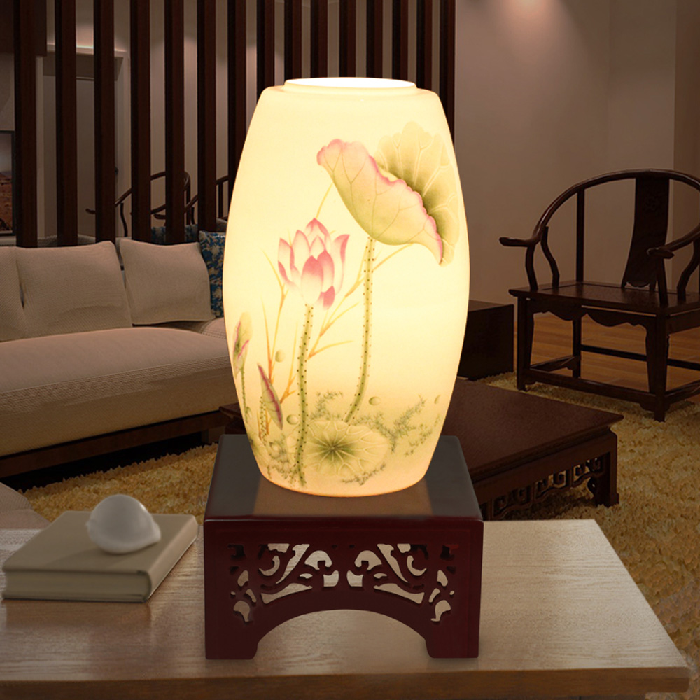 Beautiful Lamps For Bedroom Us 73 Chinese Ceramic Table Lamp Beautiful Lotus Peony Reading Lamp Bedroom Bed Wedding Lighting In Table Lamps From Lights Lighting On