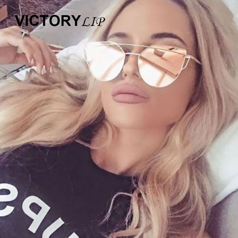 VictoryLip 2016 Newest Brand Designer Cat Eye Mirror Sunglasses Women Twin-Beams Stylish Lady UV400 Fashion Sun Glasses Hot