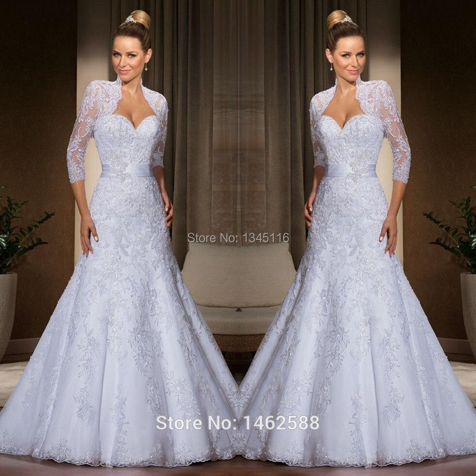 2015 New Elegant Full Long Sleeves Mermaid Wedding Dresses: Elegant Lace Wedding Dresses Bride Gowns With Long Sleeves
