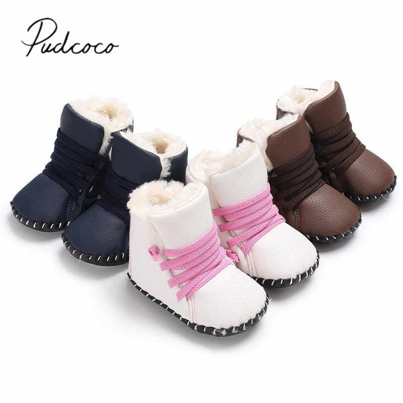 2018 Brand New Newborn Baby Girls Boys Snow Boots Winter Leather Boots Infant Soft Bottom Shoes Baby PU Furry Warm Boots 0-18M
