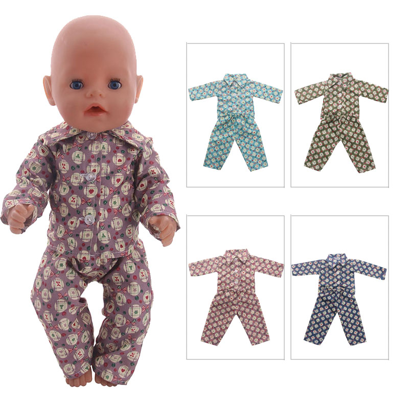 Doll Clothes 4 colors Cute Pajamas Fit 18 Inch American Girl Doll&43cm baby born zapf doll for Children Christmas Gift