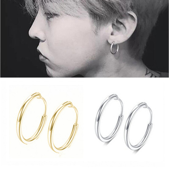E079 Punk Style Hoop Earring For Women Men Hiphop Small Circle Earrings Statement Ear Jewelry Cool