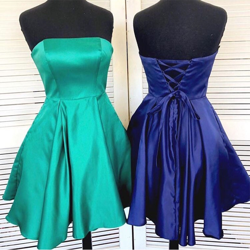 Strapless Simple Short   Cocktail     Dresses   Royal Blue Turquoise Homecoming   Dress   Satin Lace Up Back Mini Prom Gowns Abiye Vestidos