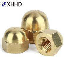 M3 M4 M5 M6 Brass Hex Metric Thread Cap Nuts Copper Decorative Dome Head Cover Semicircle Acorn Nut 20pcs din1587 m3 m4 m5 m6 brass cap hex nuts decorative dome head cover semicircle acorn nut