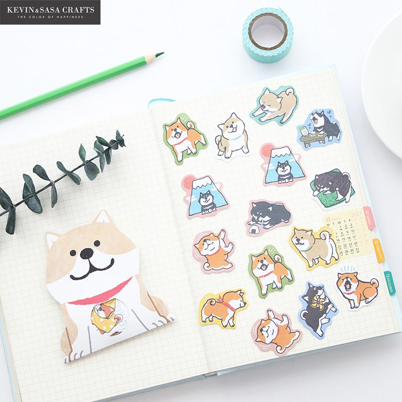 Dogs Stickers Kawaii Stationery Memo Pad Sticky Notes Paper Planner Stickers Scrapbooking Cute Post It Notebook Diy Stationary cute leather a7 memo pad mini paste message stickers smile laugh notebook personal daily planner organizer notes paper with box