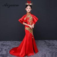 Роскошное вечернее платье в китайском стиле с цветочным узором для девочек, торжественное платье с вышивкой на день рождения, детская одежд