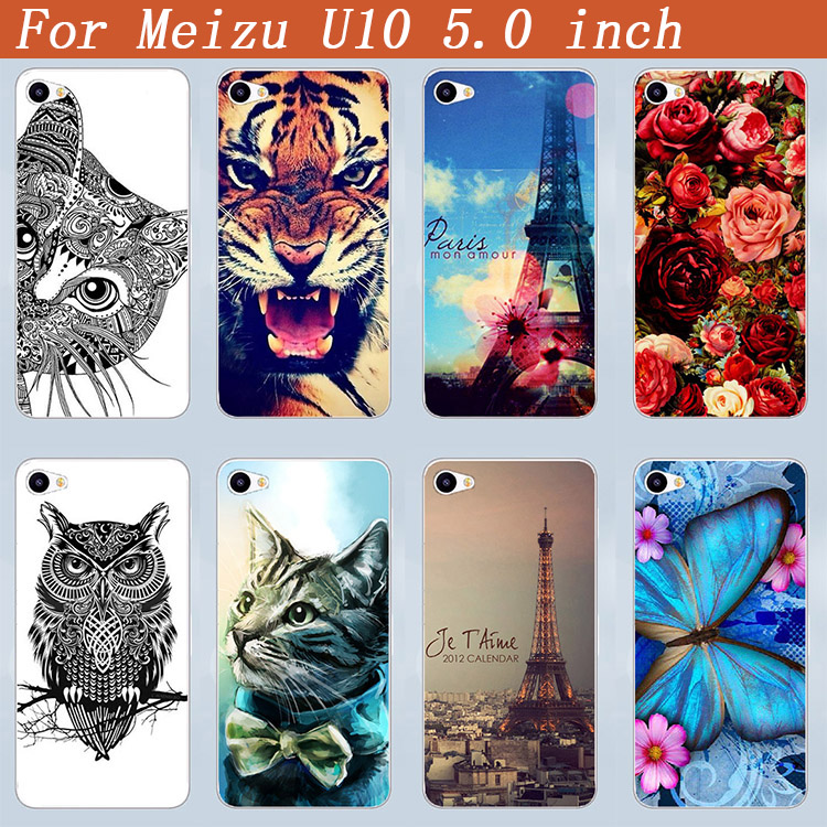 Luxury Painted Phone Case For meizu u10 DIY Hard Plastic Lovely Animale flowers and Eiffel Towers Case Cover for meizu u10