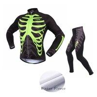 Men Women Long Sleeve Cycling Jersey Set Skull Print Bike Bicycle Maillot Ciclismo Thermal Fleece Cycling