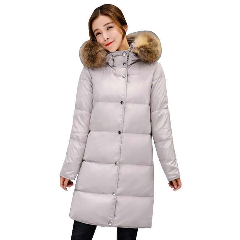 2017 winter new fashion women's long hooded   coats   parka whiter duck   down   jacket female navy blue worm   down     coat   outerwear QH0883