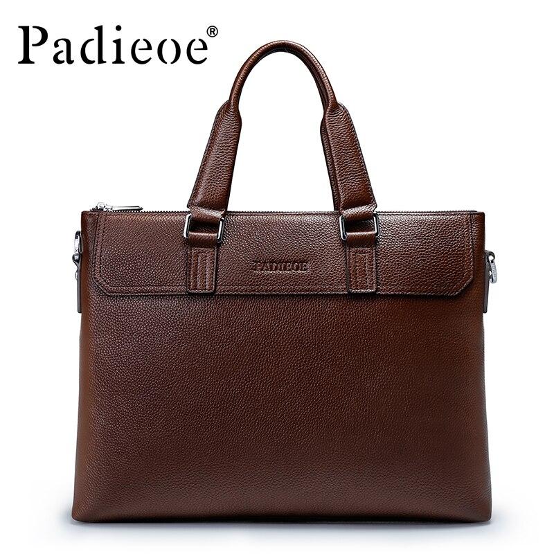 Padieoe Luxury Genuine Leather Briefcase High Quality Durable Business Men Portfolio Fashion Casual Vintage Men Leather Bag