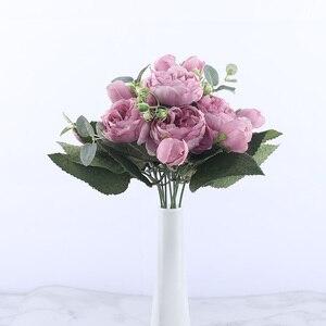 Image 3 - 30 centimetri Rosa di Seta Rosa Peonia Fiori Artificiali Bouquet 5 Grande Testa e 4 Del Germoglio A Buon Mercato Fasullo Fiori per la Casa decorazione di cerimonia nuziale indoor
