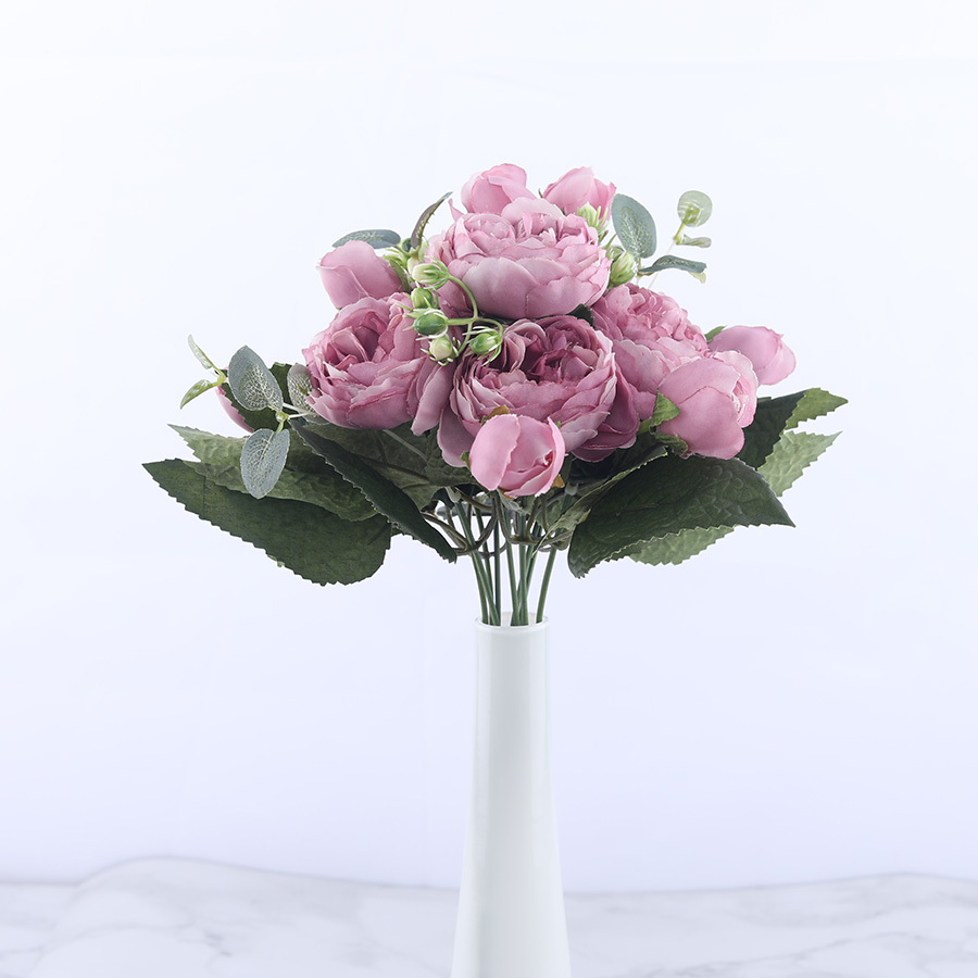 30cm Rose Pink Silk Peony Artificial Flowers Bouquet With 5 Big Head and 4 Bud Cheap for Home Decoration 2