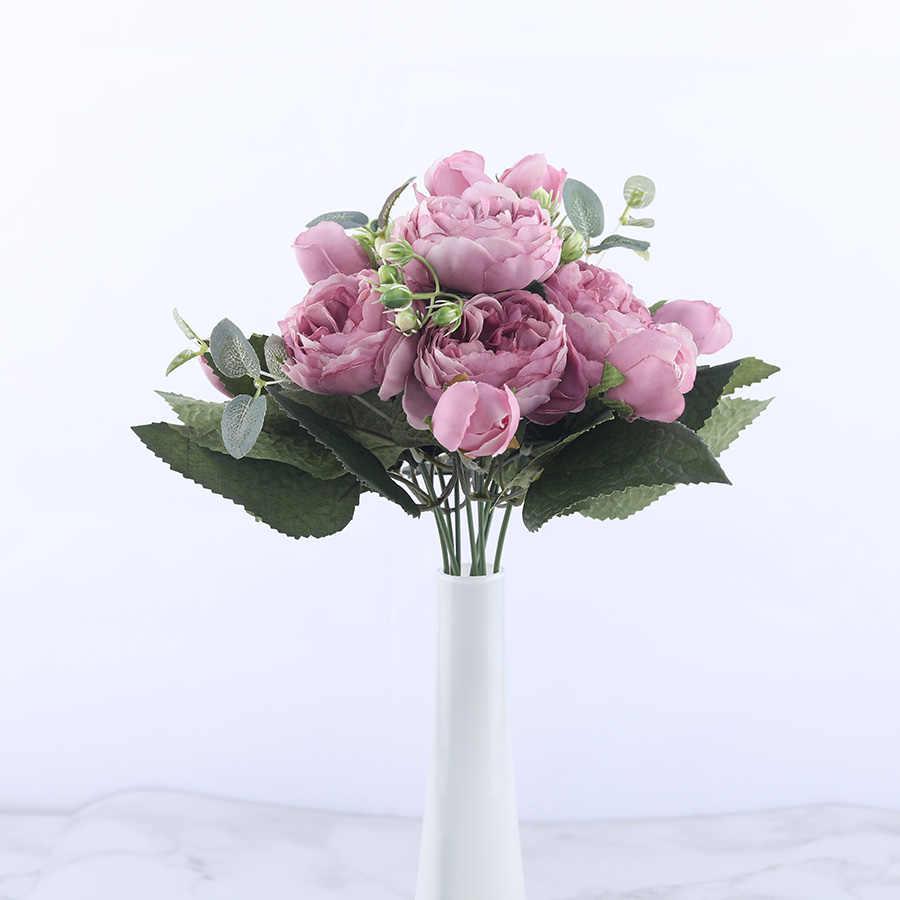 Buquê de flores artificiais de peônia, rosa, flores artificiais de seda, 5 grandes cabeças, 4 flores e bud baratos para casa decoração de casamento interior