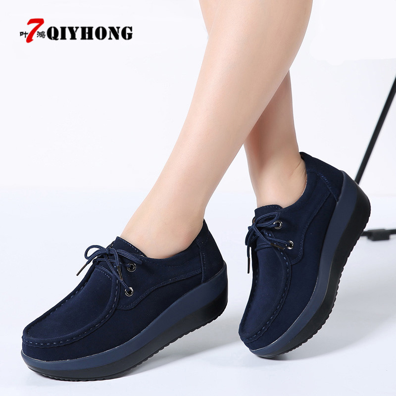 New 2018 Autumn Women Flats Shoes Thick Soled High Platform Shoes   Leather     Suede   Ladies Casual Shoes Lace Up Flats Creepers