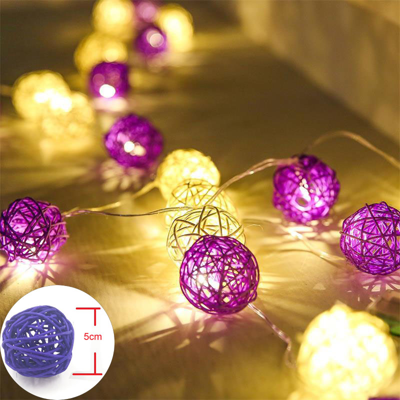 5m LED String Fairy <font><b>Lights</b></font> 20pcs Rattan Balls Christmas <font><b>Lights</b></font> Outdoor Garlands Villa Fence Beach Bar Wedding Party Decorations