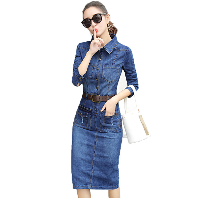 c385c78548 Stretch Jeans Dress Women Long Sleeve Autumn Dresses Ladies Denim Dress  With Stylish Dress Bags-in Dresses from Women s Clothing on Aliexpress.com