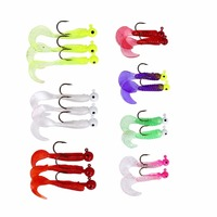 LumiParty 17 Pcs Fishing Tackle Lots Jig Lead Head Hooks Soft Baits Lures Curly Tail Worms Kit Set Random Color