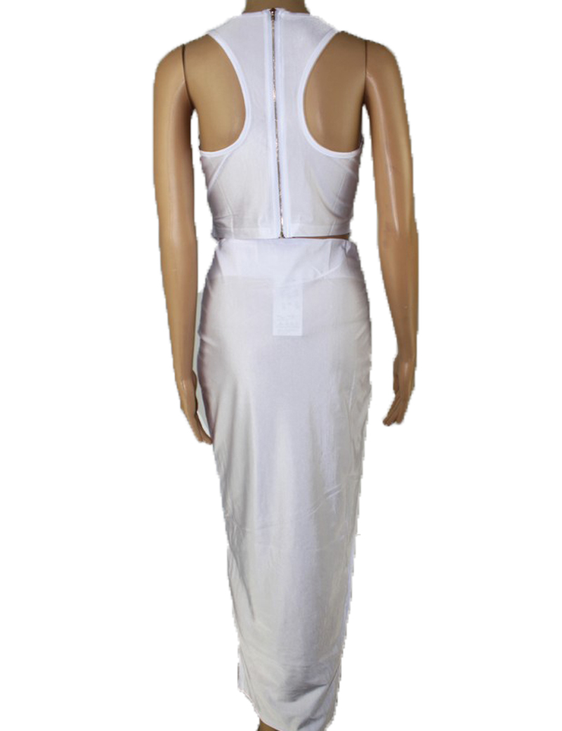 2018 Women White Bodycon Dress 2 Piece Bandage Dress Celebrity Sexy Clubwear Cutout Long Dresses Sexy Club Dresses Vestidos in Dresses from Women 39 s Clothing