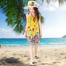 Hot 2016 New Summer 7 Style Girls Dress Fashion Knee-length Beach Dresses For Girls Sleeveless Bohemian Children Dresses Retail