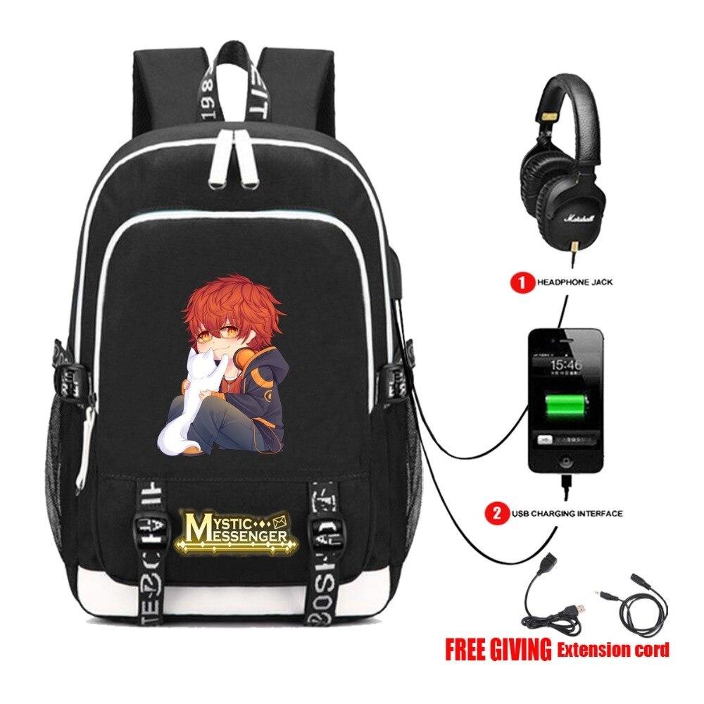 481eb8ddad Multifunction USB charging Headphone jack backpack Students bookbag Men  Teenage travel bag for anime Mystic Messenger backpack