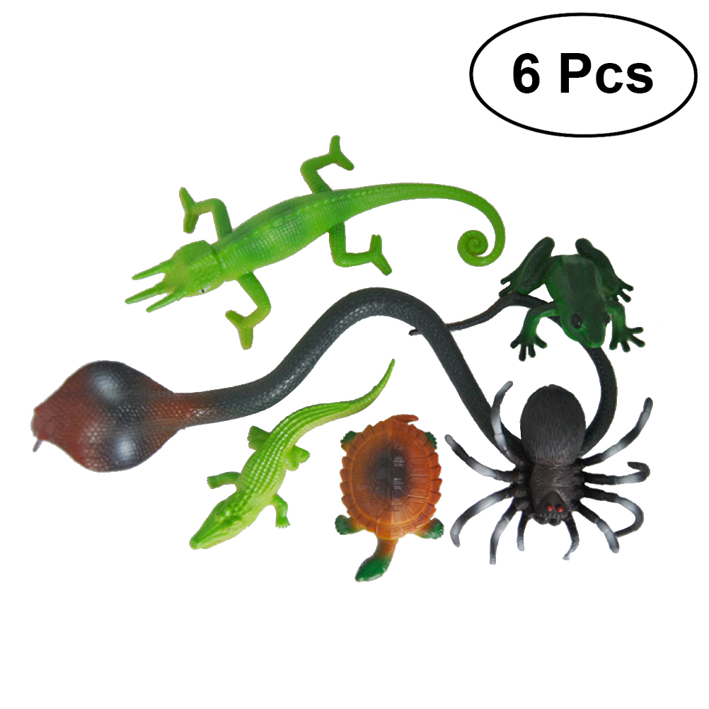 6pcs Plastic Non-toxic Realistic Animal Toys Halloween Party Favors Halloween Fake Animals Toys Educational Toys for Toddlers