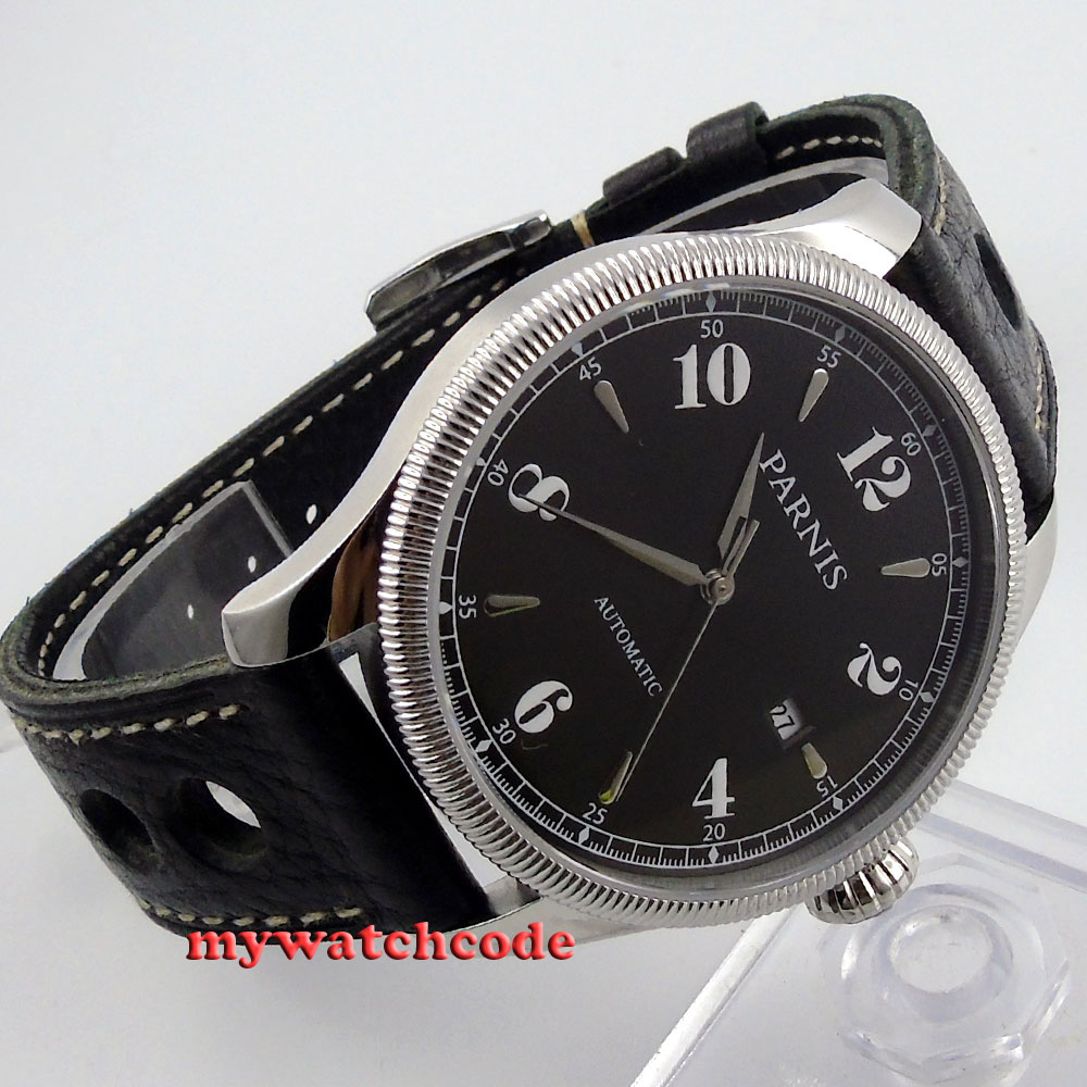 42mm Parnis black dial Sapphire Glass 21 jewels miyota Automatic mens Watch P416 цена и фото