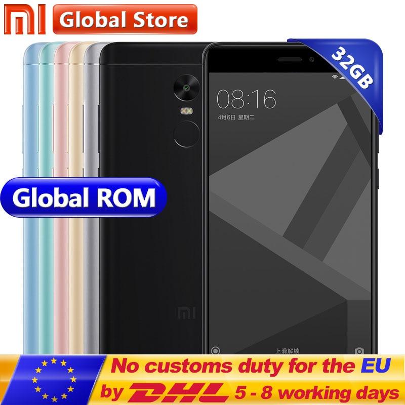 """Оригинальный Xiaomi Redmi Note 4x3 ГБ 32 ГБ мобильного телефона Redmi Note 4 x Redmi Note4X Snapdragon 625 восьмиядерный 5.5 """"FHD отпечатков пальцев ID"""