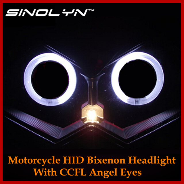 2.3 inch Motorcycle HID Bi-xenon CCFL Angel Eyes Halo Headlight Lens Dual Projectors Retrofit Combo Kit For Kawasaki Z750 Z750R