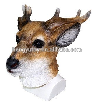 Realistic Full Head Fancy Dress Latex Stag Mask for Adult Party Halloween Christmas Masquerade