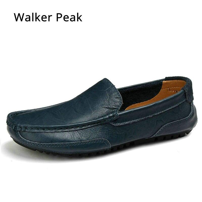 Mens Casual Schuhe Leder Marke Boot Schuhe für Männer fashion Echtes Leder Schuhe Slip Auf Loafers Männlich Fahren schuhe WalkerPeak