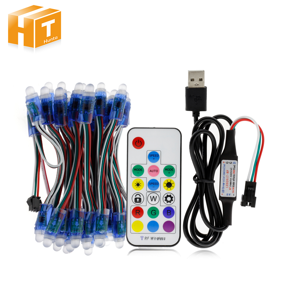 WS2811 RGB LED Module IP68 Waterproof DC5V Full Color LED Pixel Module String Point Lights 50Pixels/Piece With 17key Controller
