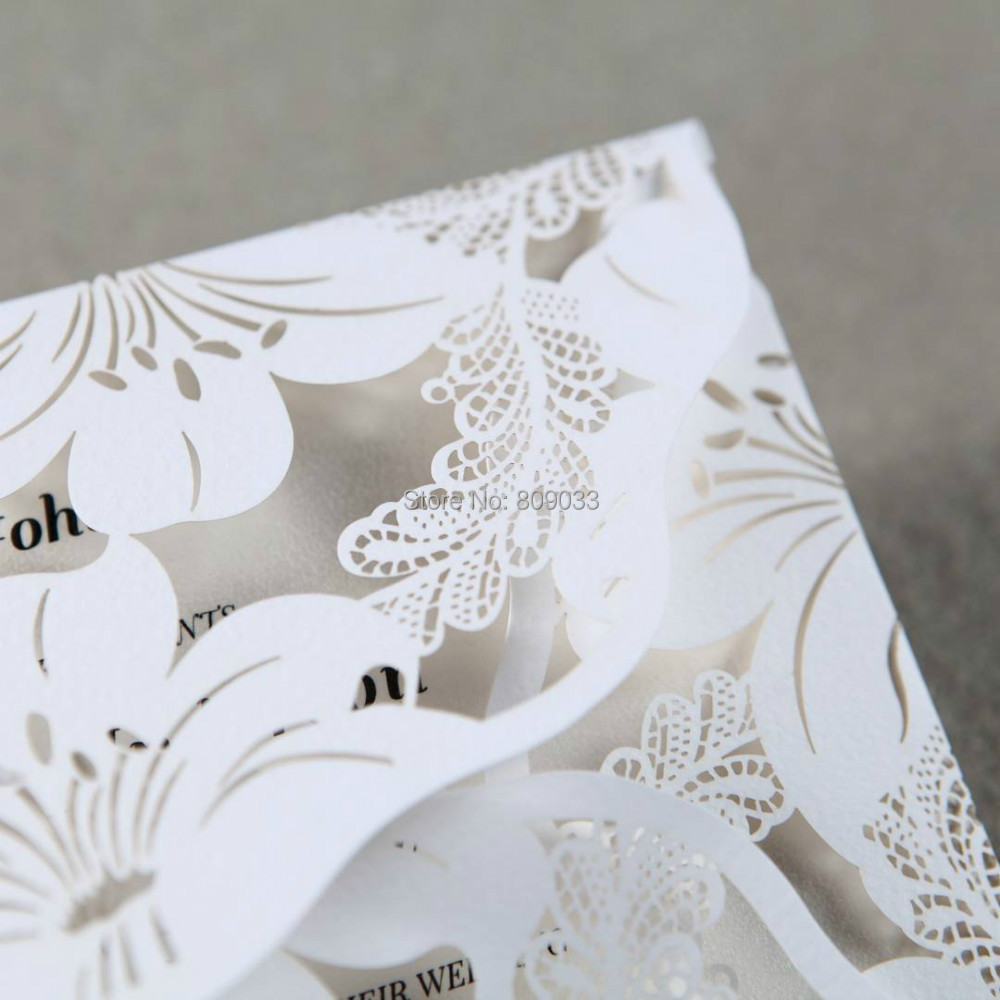 Lily Bloosom White Laser Cut Wedding Invitations-in Cards ...