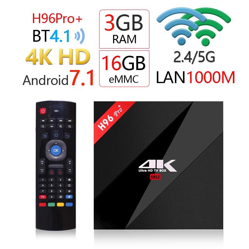goodcee H96Pro+ Android 7.1 OS Smart TV Box 3GB 16GB Amlogic S912 Octa core 2.4G/5GHz wifi 4K HD H.265 IPTV set top box 3GB 32GB goodcee h96 pro android 7 1 os smart tv box 3gb 16gb amlogic s912 octa core 2 4 5 8g wifi 1000m 4k bt 4 1 iptv set top box