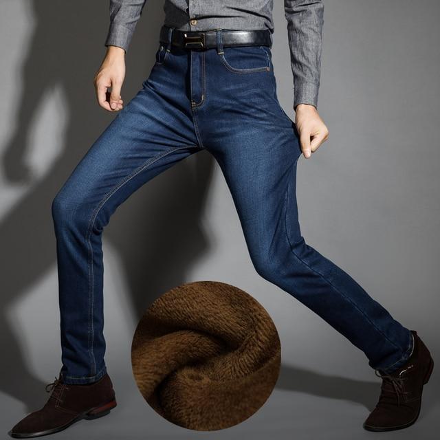 Marca Mens Estiramento Inverno Engrossar Calça Jeans Tamanho Calças Jeans Calças Quentes do Velo de Alta Qualidade Denim Motociclista 28-42