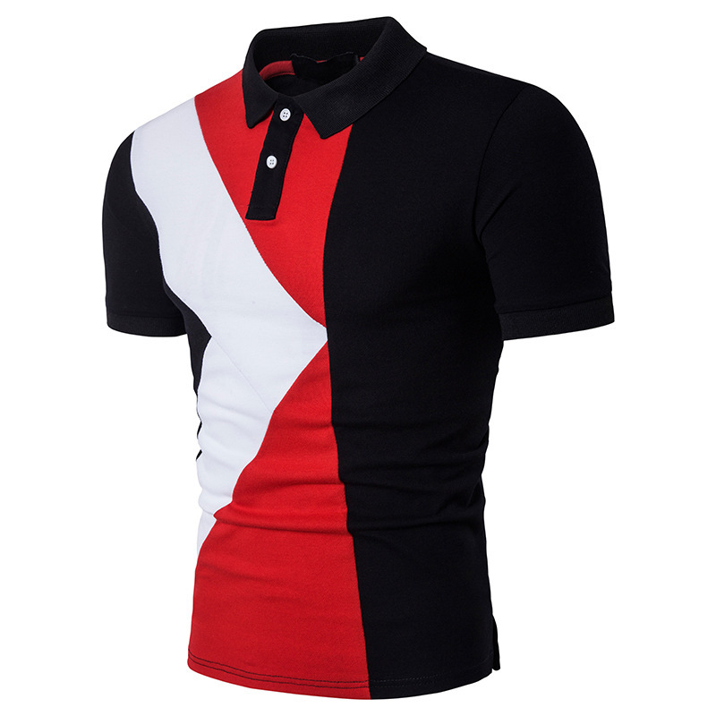 New Summer 2019 Contrast Color Man Short Sleeve Polo Shirts Brand Man Clothing Cotton Casual Business Men's Polos Shirts B65