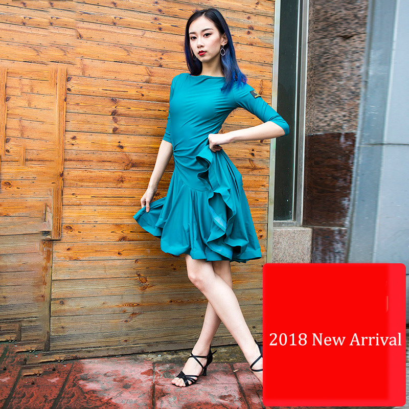 2018 New Latin Dance Dresses For Ladies Orange Green Black Dress Good Quality Women Ballroom Competitive Tango Costumes E033