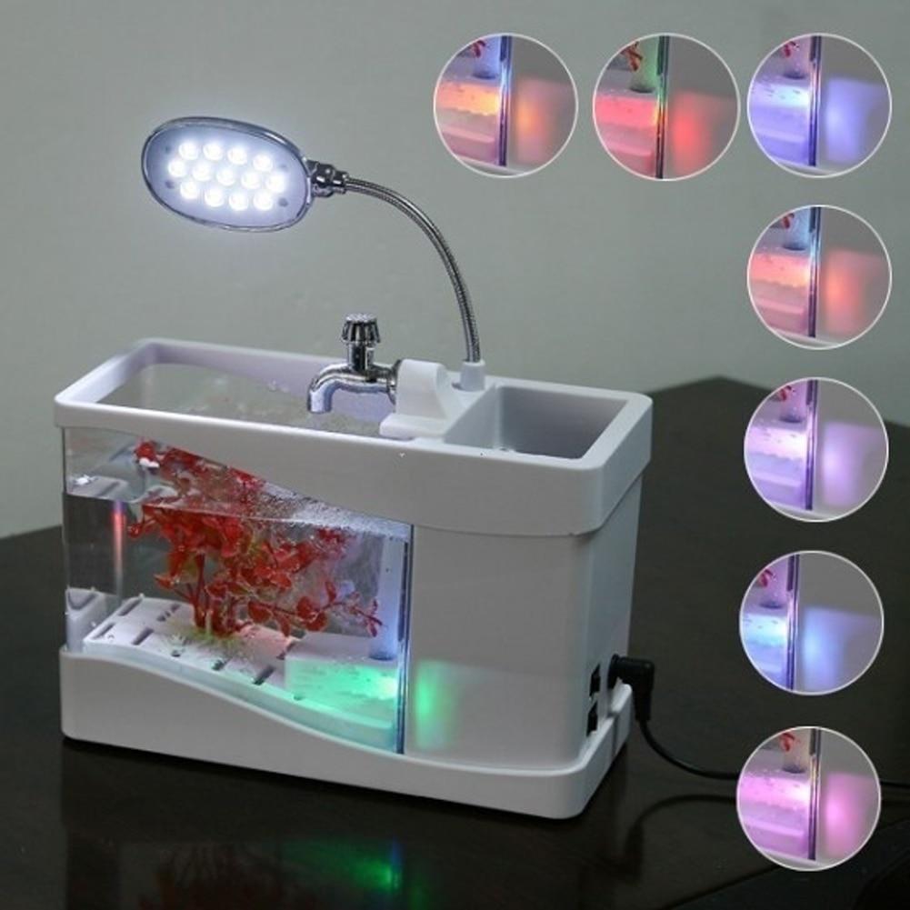 Usb mini aquarium fish tank - Superior Mini Fish Tank Usb Desktop Lamp Light Colorful Led Aquarium White Home Decoration H8072w