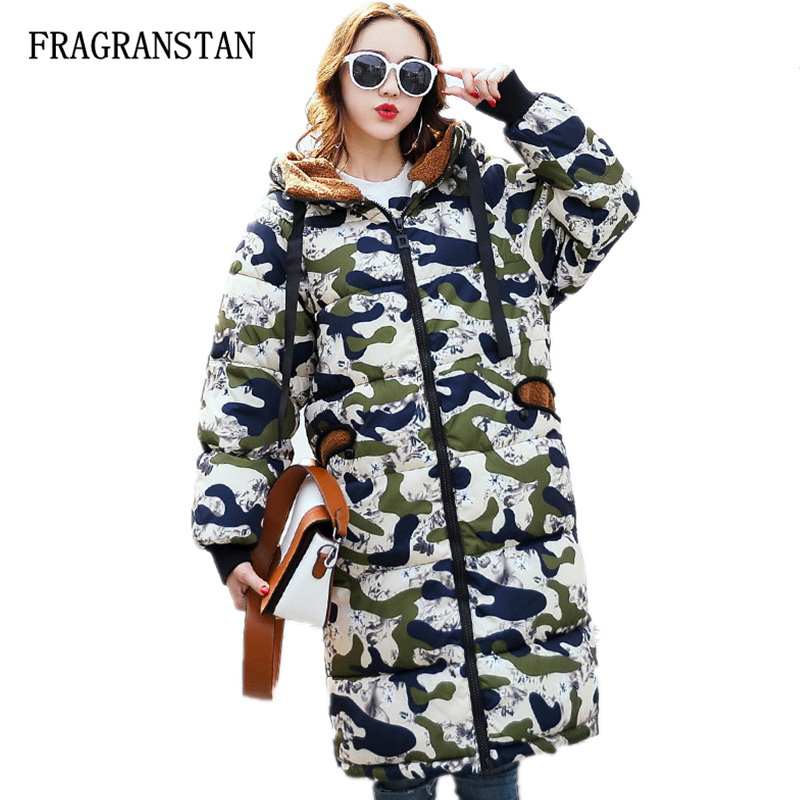2017 Lady Thick Warm Hooded Parkas Winter New Fashion Casual Loose Camouflage Pattern Printed Female Street Style Vestidos JQ32 casual style head portrait pattern loose hooded fleeces