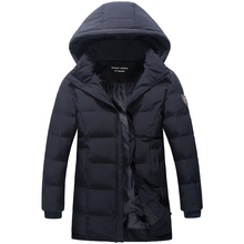 2016 New Winter Men's Wadded Jacket Faux Fur Hat Long Fashion Cotton-padded Clothes Hooded Jacket Casual Outerwear Warm Coat 8XL