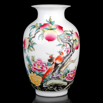 Jingdezhen ceramics and longevity gourd bottle pastel Xiantao small vase Home Furnishing modern fashion ornaments