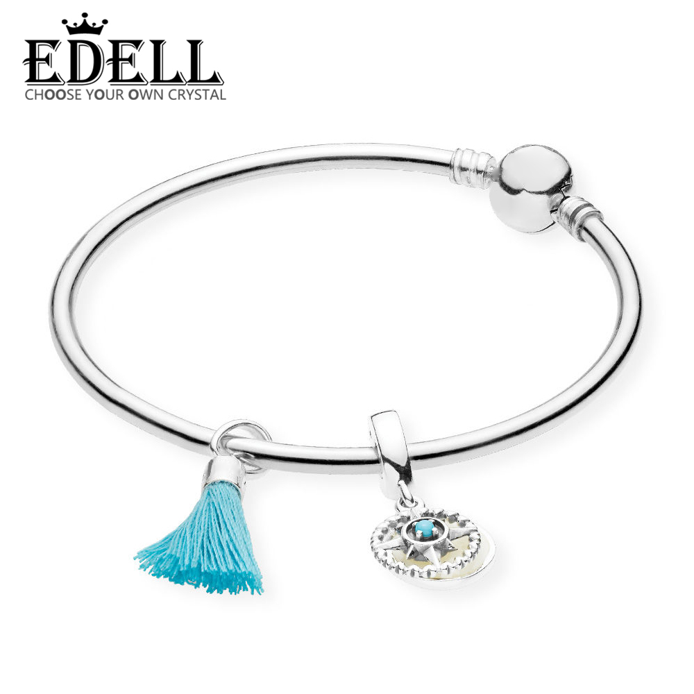 EDELL 100% 925 Silver Genuine Glamour RAU0461 Turquoise Tassel and Compass Bangle Set Original Women Jewelry faux turquoise cow engraved jewelry set
