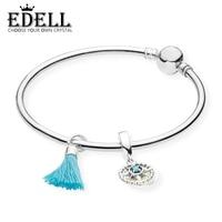 EDELL 100% 925 Silver Genuine Glamour RAU0461 Turquoise Tassel and Compass Bangle Set Original Women Jewelry