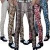 Non-mainstream Slim printing men's pu leather pants pants tide male personality boa Leopard nightclub costumes 124