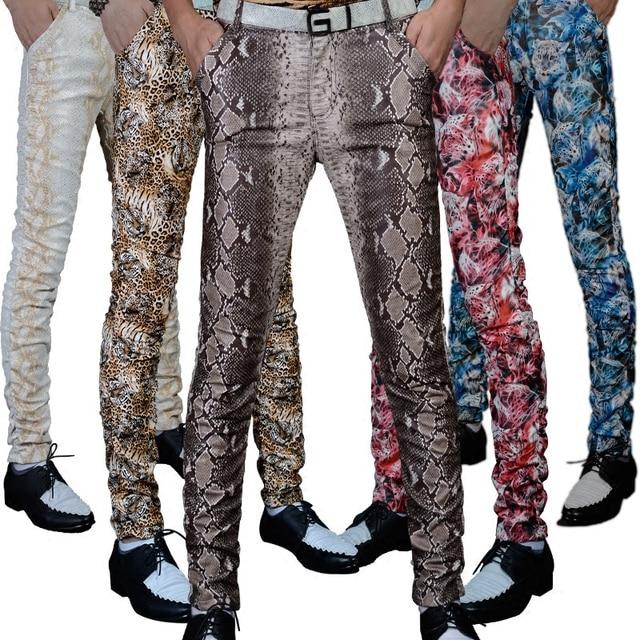 Non-mainstream Slim printing men's pu leather pants pants tide male personality boa Leopard nightclub costumes 118