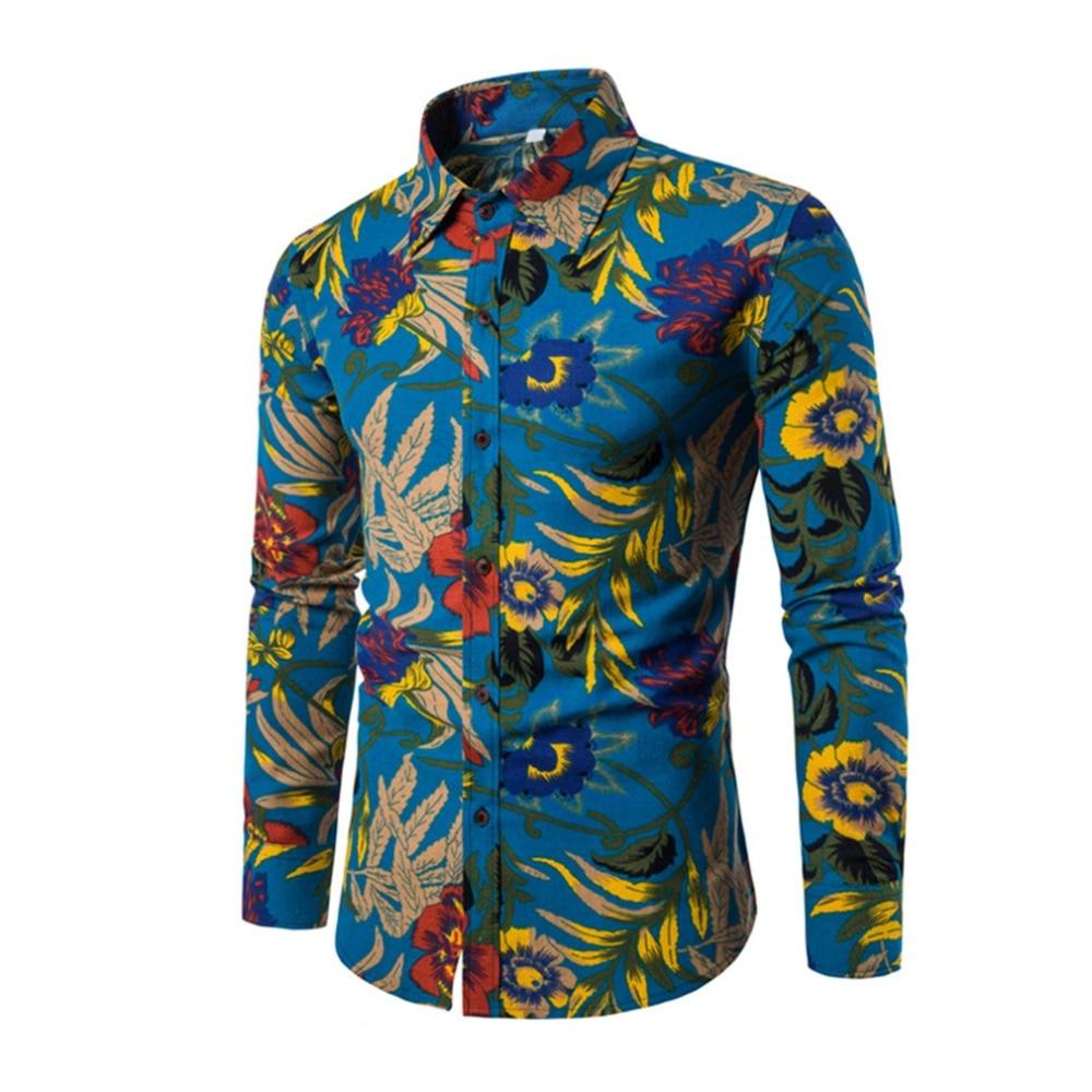 Spring Autumn Casual Men Shirt Slim Fit Flower Print Linen Shirt Long-sleeved Shirts Male Floral Social Masculina M-5XL
