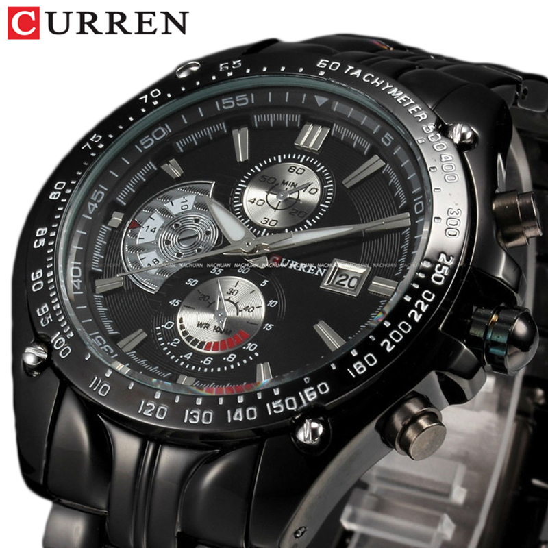 CURREN Full Stainless Steel Quartz Watches Mens Sport Wristwatch Waterproof Male Clock Relogio Masculino Erkek Saat Gifts