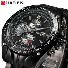 CURREN Full Stainless Steel Quartz Watches Mens Sport Wristwatch Water