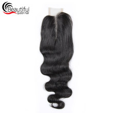 Beautiful Queen 10A Body Wave 2x6 Lace Closure Natural Color Middle Part Peruvian Human Hair Virgin Hair Weaving Free Shipping(China)