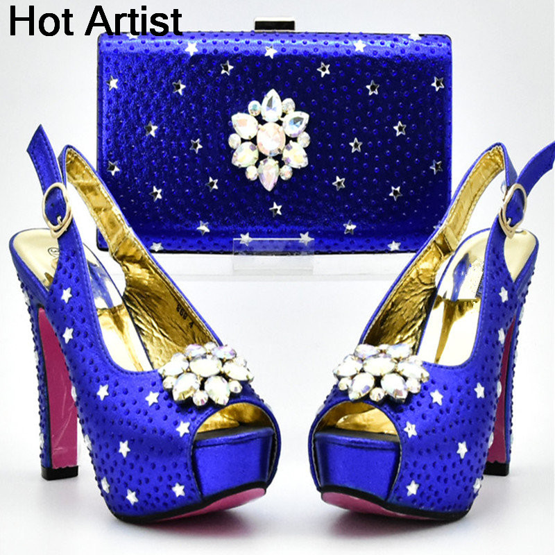 Здесь продается  Hot Artist 2018 Blue Color Newest Italian Shoes With Matching Bag Set African Women Party Shoes And Bag Set Women Sandals YF-06  Обувь